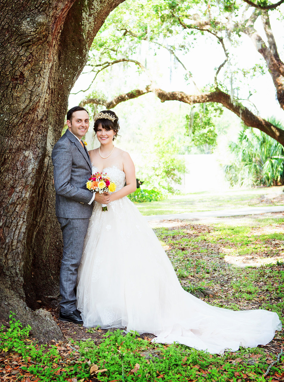 bride-and-groom-in-city-park