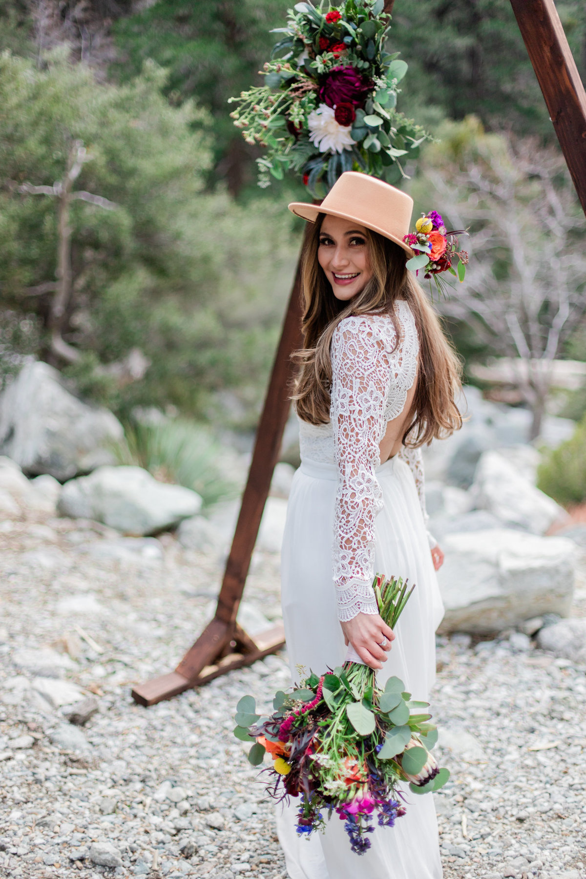 Mt. Baldy Elopement, Wildflower Bouquet, Mt. Baldy Styled Shoot, Mt. Baldy Wedding, Forest Elopement, Forest Wedding, Boho Wedding, Boho Elopement, Mt. Baldy Boho, Forest Boho, Woodland Boho S&W-46