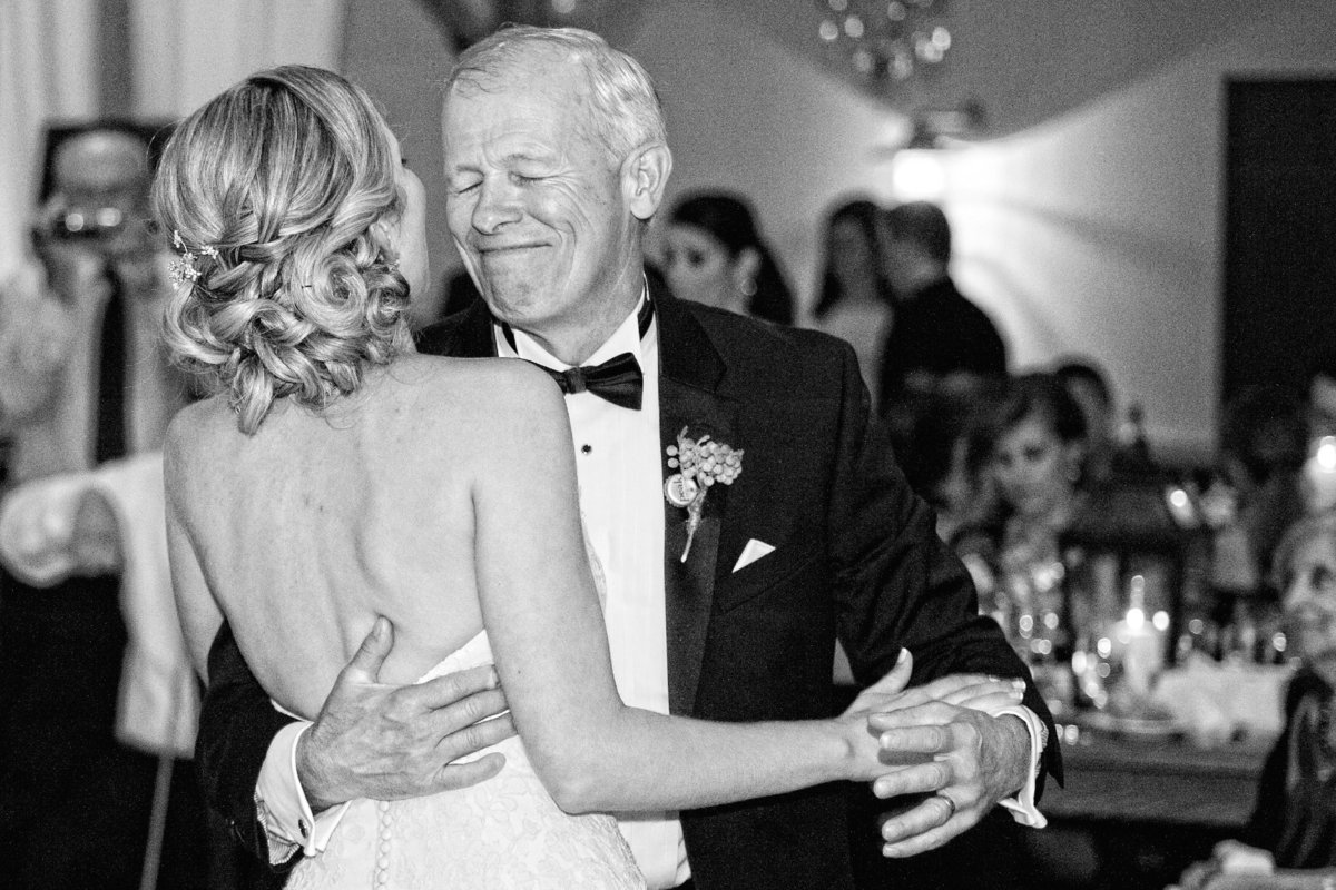 black and white wedding photo of father/daughter dance at the Mountain Top Inn Resort