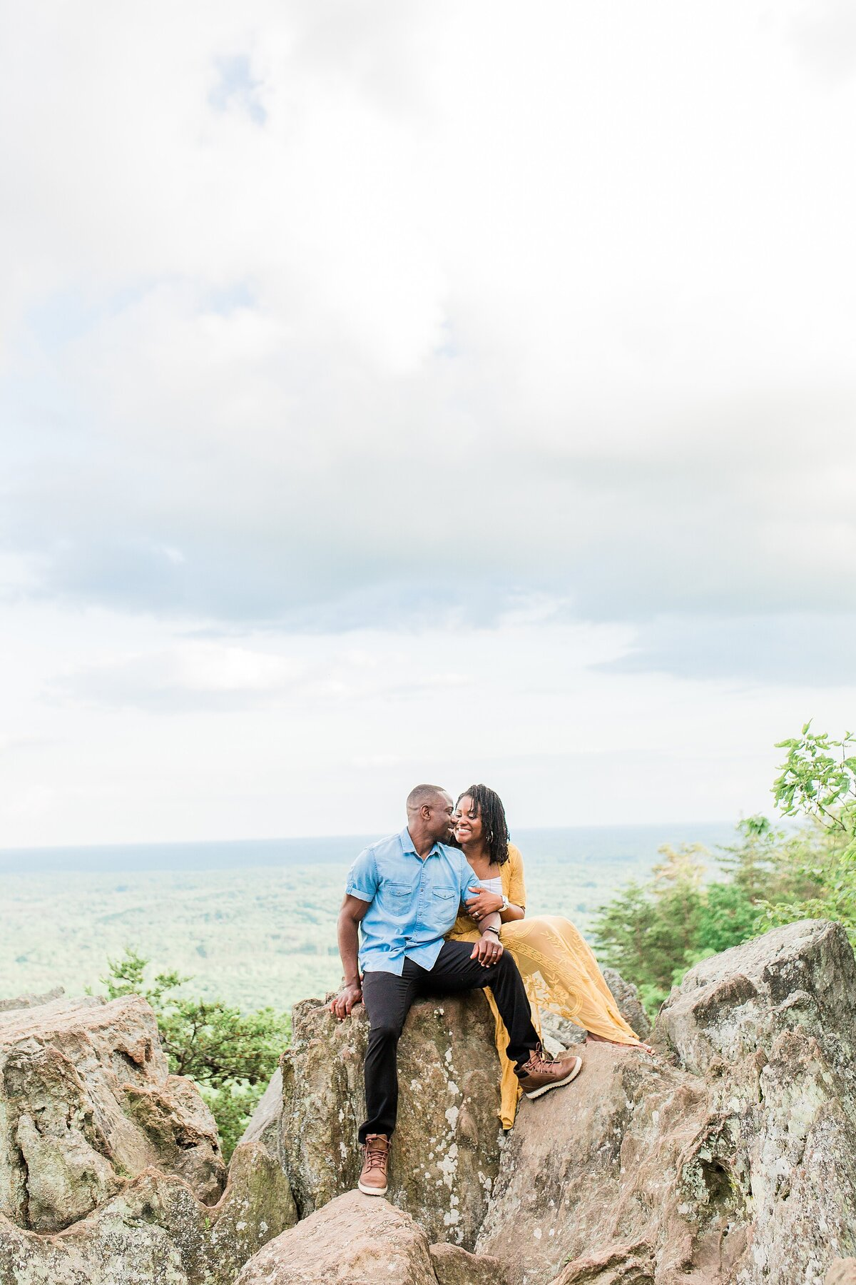 engagement session on crowders mountain near charlotte nc