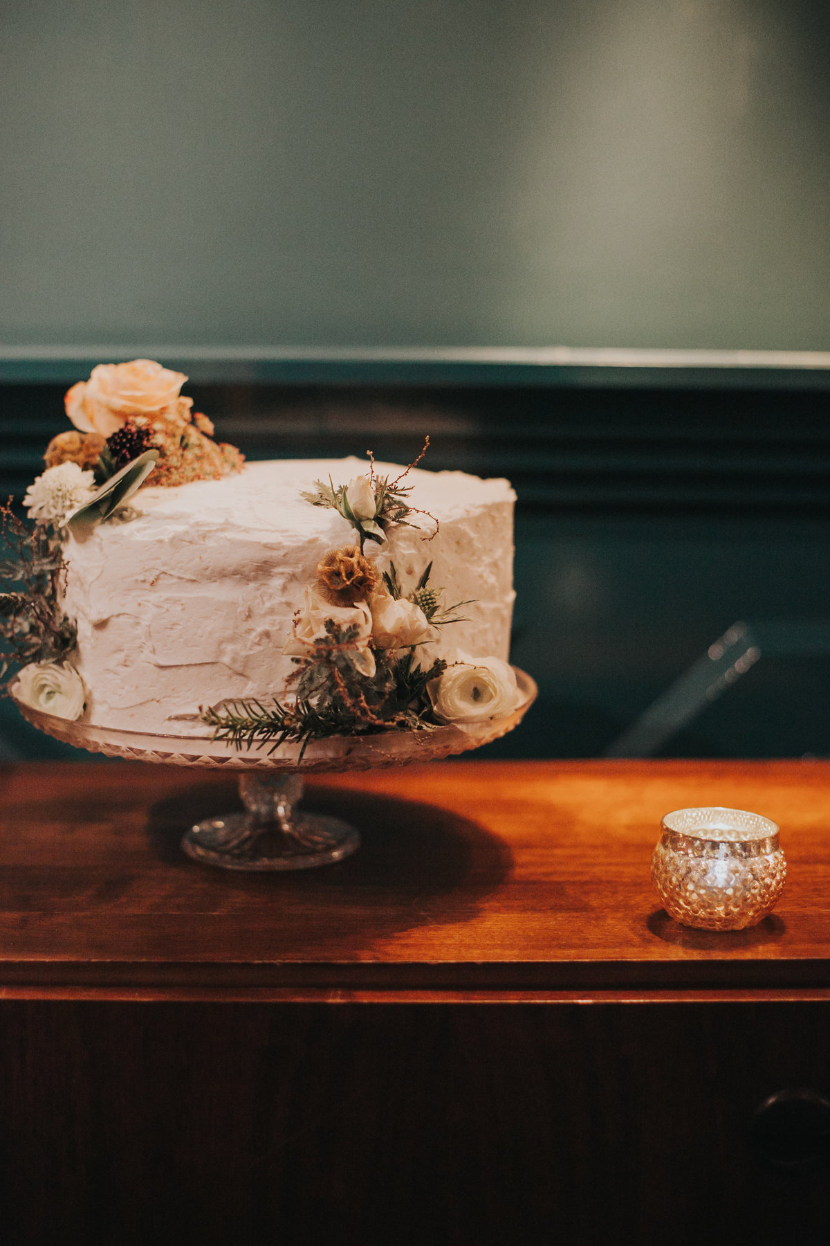 Simple wedding cake at The Fig House wedding reception