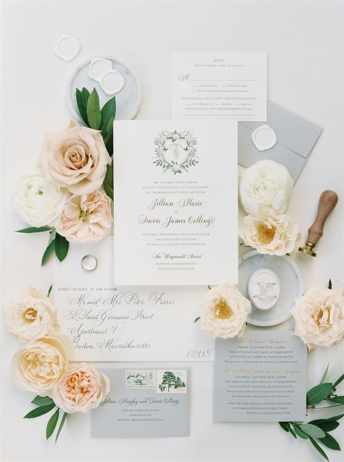 Luxe letterpress suite by Fete Collection with calligraphy, crest, monogram and wax seal by wedding planner and designer