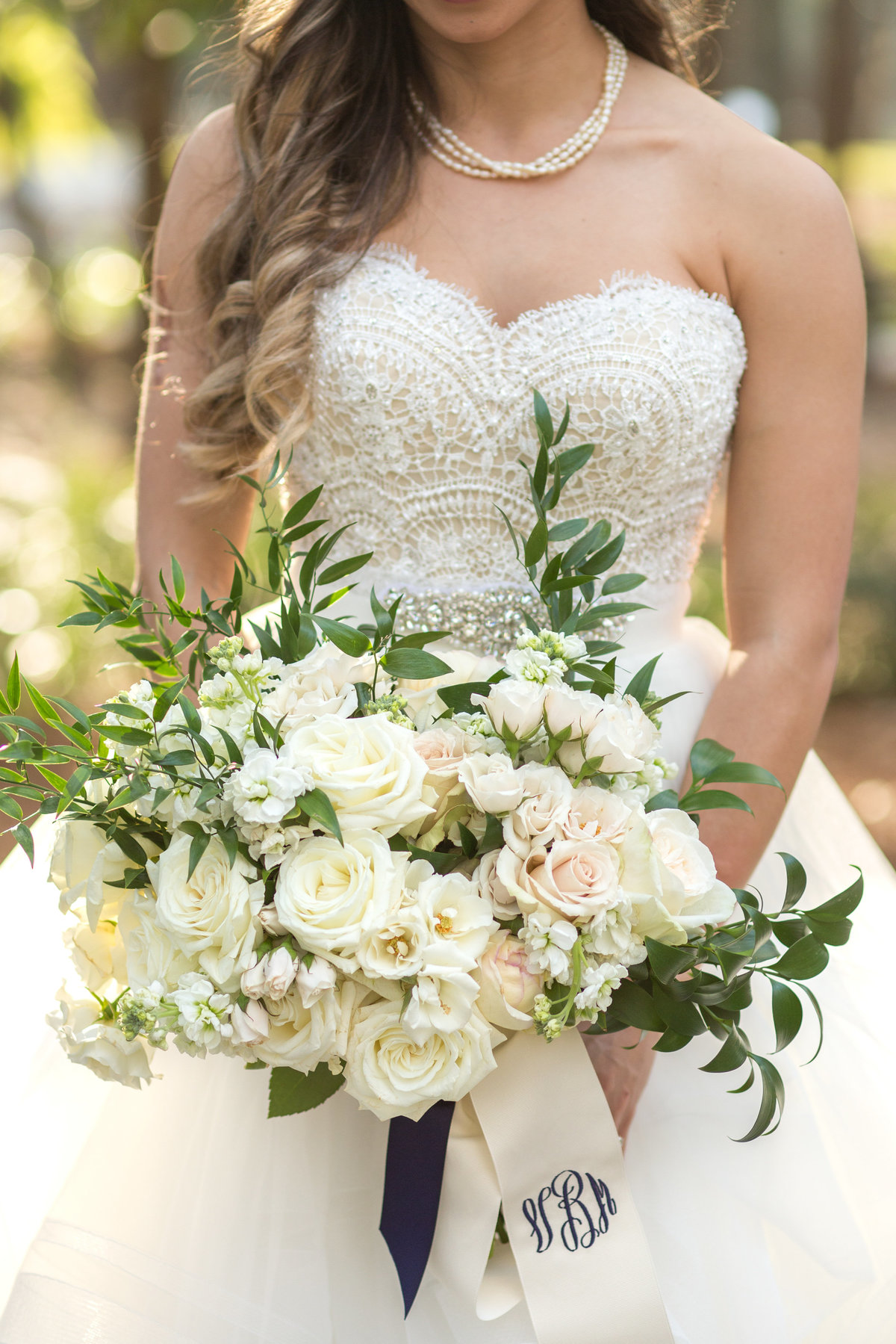 close up of bridal flowers at savannah wedding
