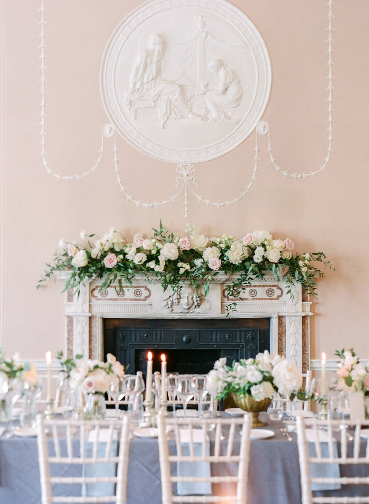 Ireland & US Wedding Planner, reception table by fireplace