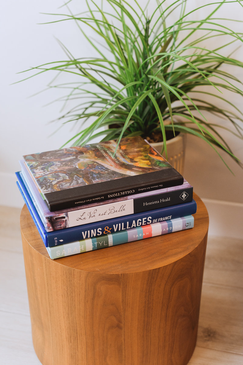 books on side table at dental office
