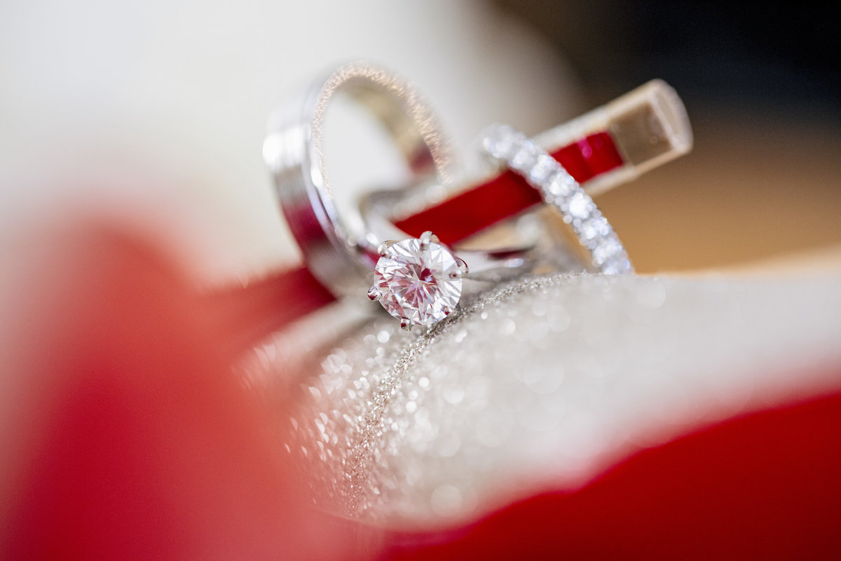 engagement rings on loubtinon heels