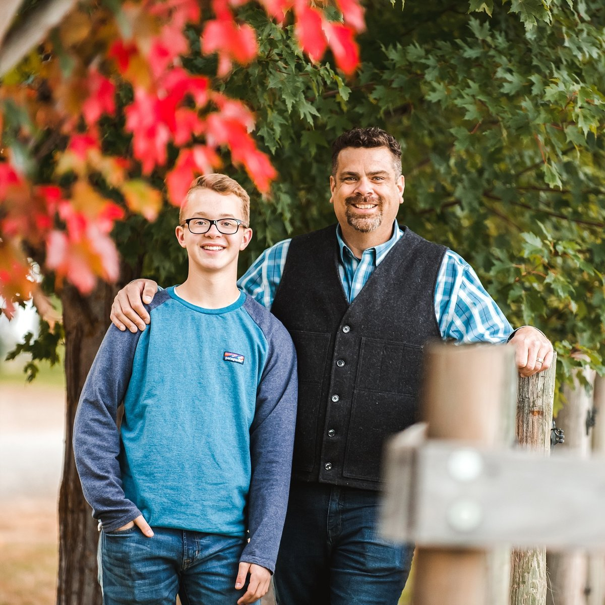 Father and Son During Family Photo in Ellensburg