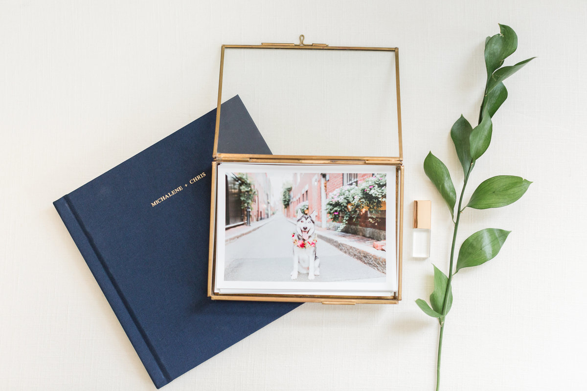 Linen Album and Gold Glass Keepsake Box