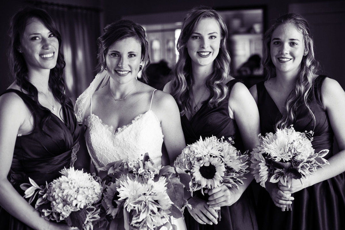 black and white bridesmaids