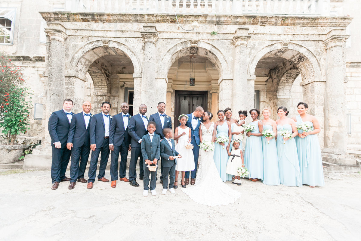 Bridal party portrait at Barbados destination wedding