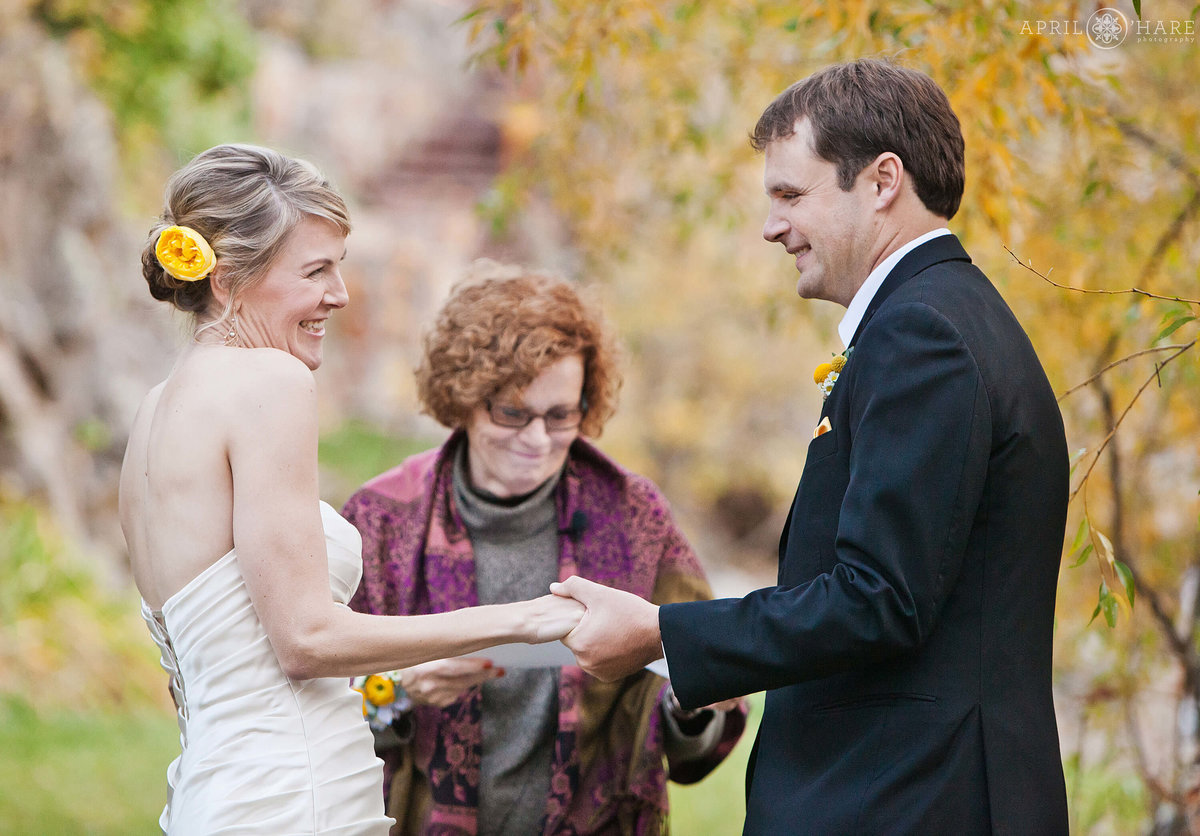 Cute Wedding Ceremony Photography Wedgewood Weddings on Boulder Creek in CO