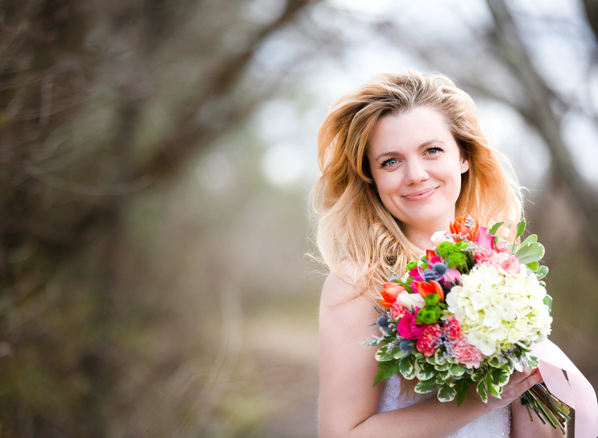 boston bride with her wedding bouquet