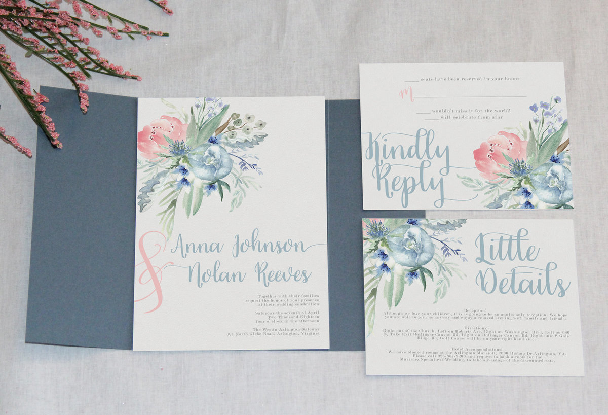 Dusty blue and pink wedding invitations