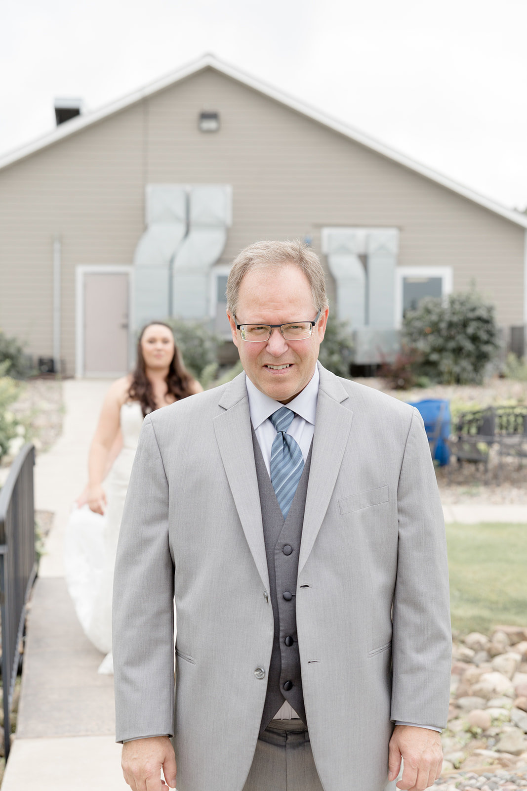First look with dad and bride in Prescott Wisconsin