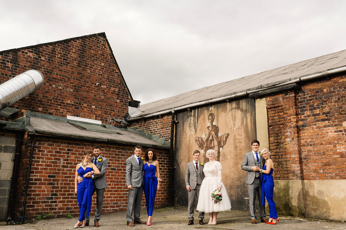 Canal Mills Wedding in Leeds bridesmaids wearing jumpsuits