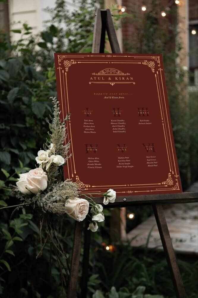Beautiful red table plan