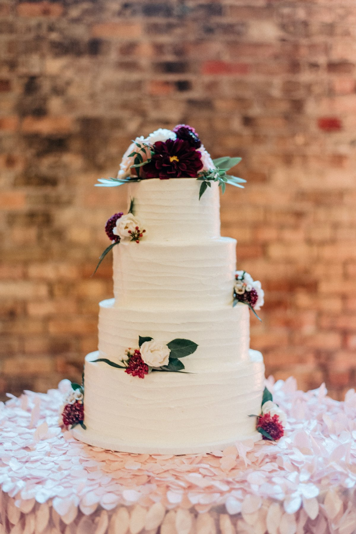 burgundy blush  cake flowers
