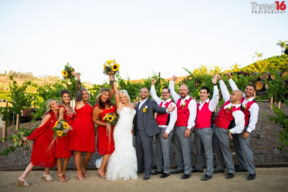 Peltzer Winery Wedding Venue Photography Temecula Bridal Party Bride and Groom