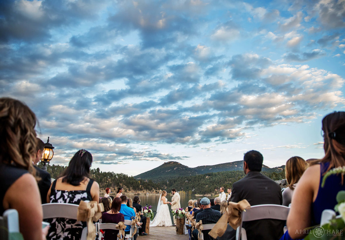 Outdoor Sunset Wedding at Evergreen Lake House during Fall
