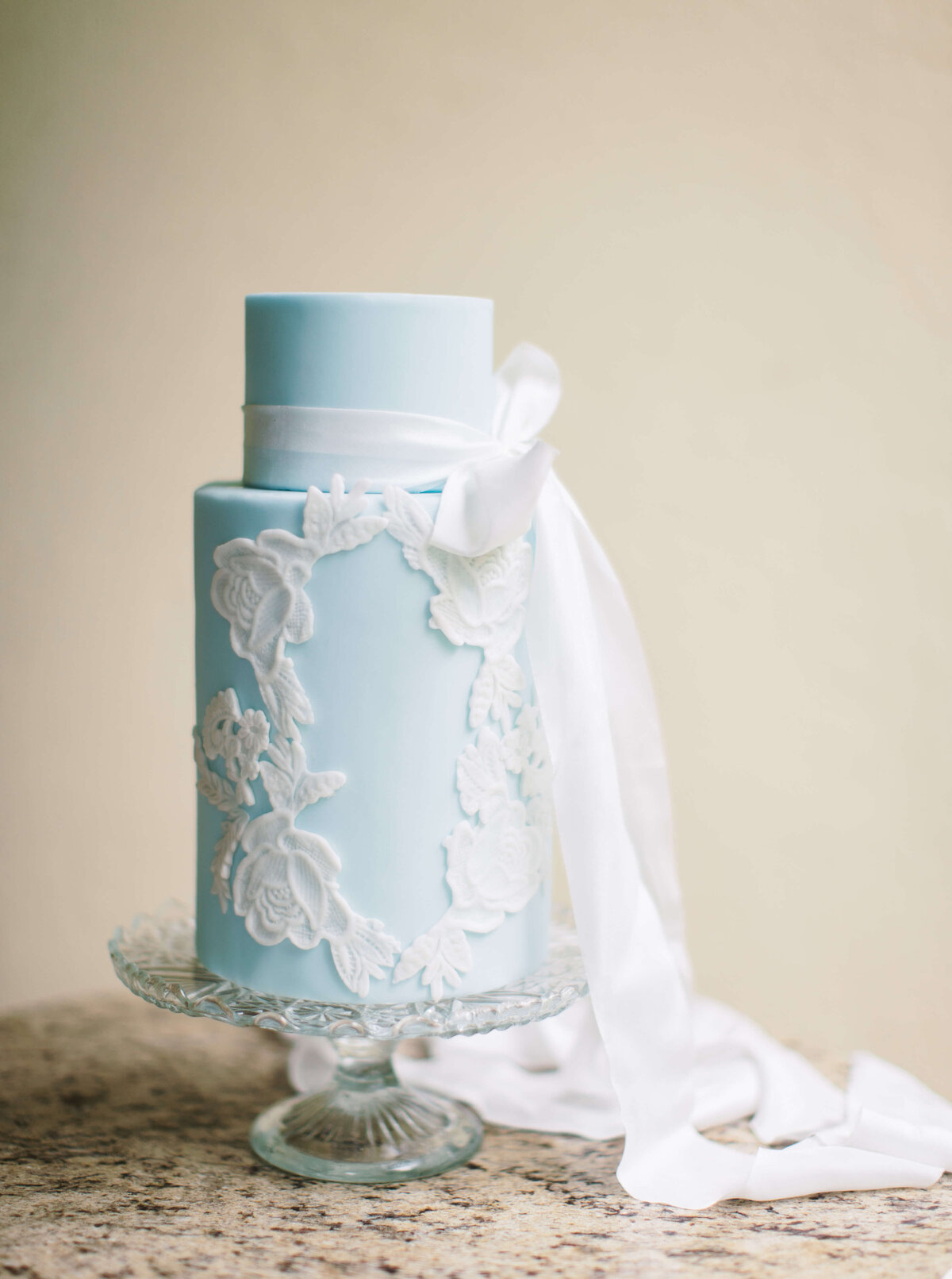 2 tier french blue lace wedding cake  | MonAnnie