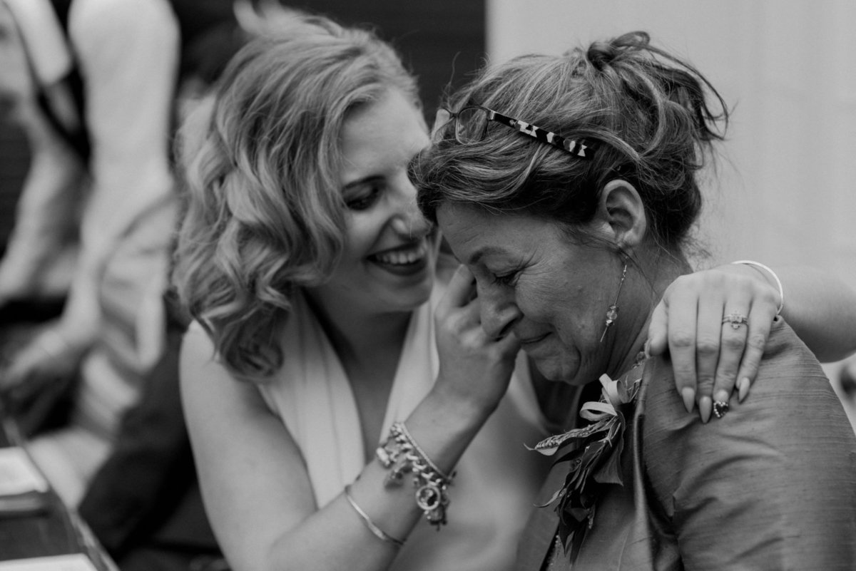 Bride and mother at The Faversham. Alternative wedding photographer