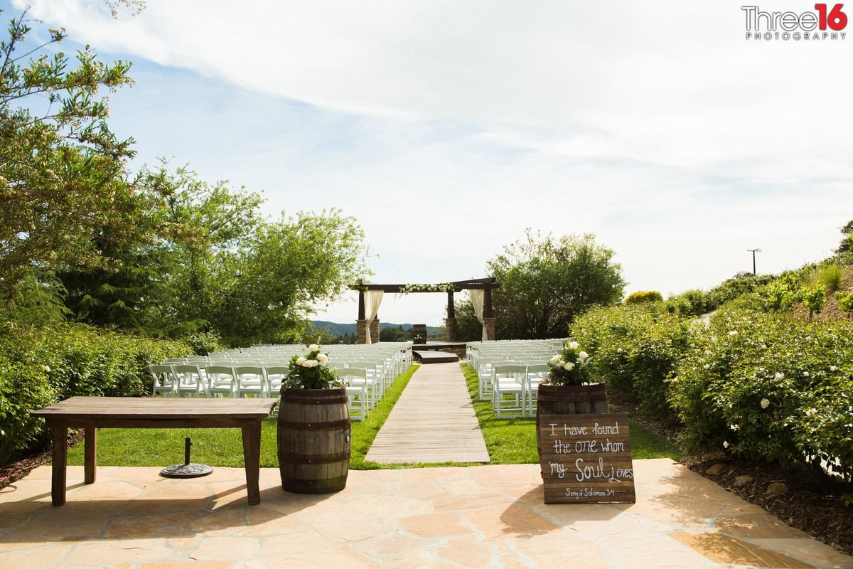 Outdoor wedding ceremony setup at Serendipity Gardens in Oak Glen, CA
