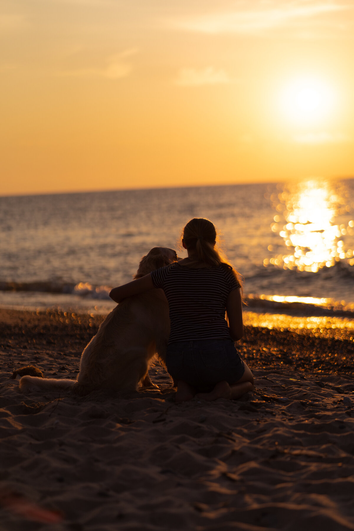 girl and dog at sunset