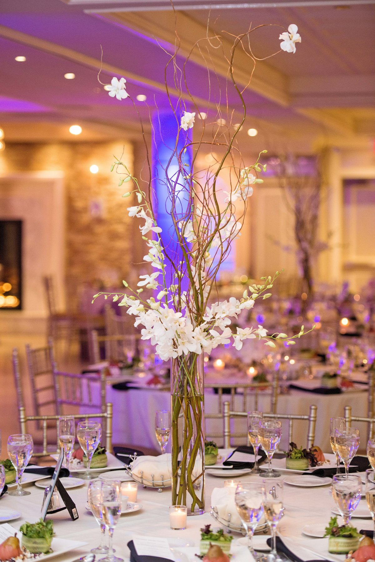 Simple wedding centerpiece at Watermill Caterers