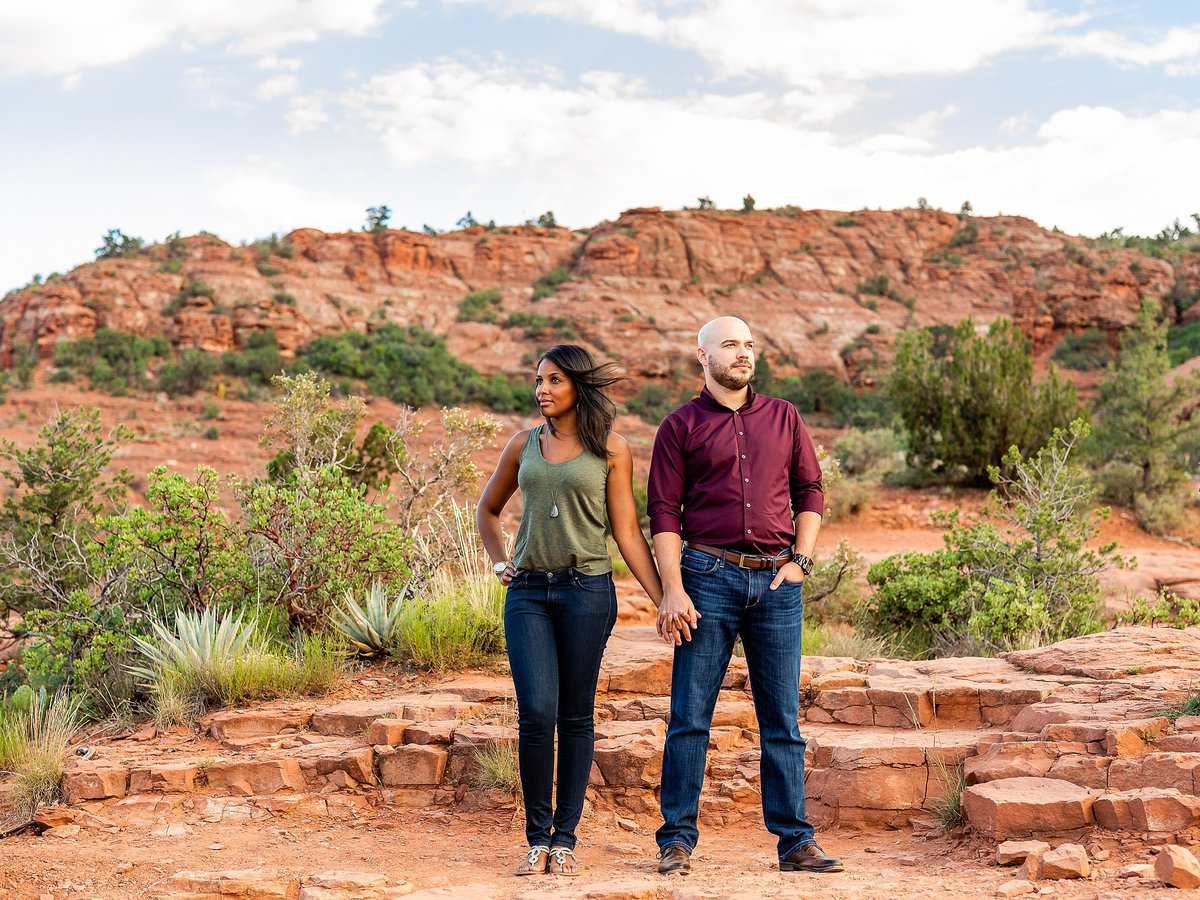 Monica + Austin - Sedona Engagement Session - Cathedral Rock - Lunabear Studios_0186