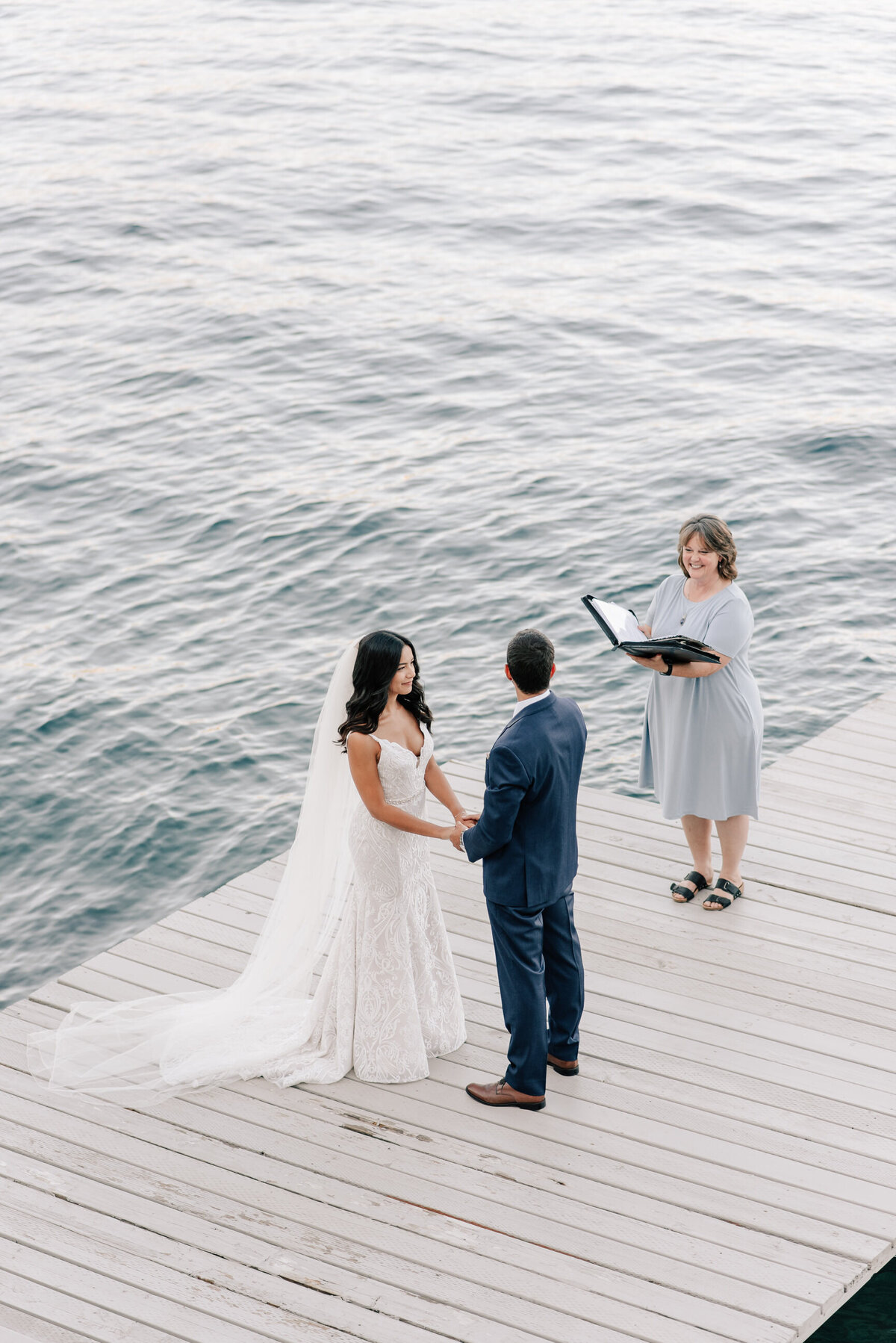 Intimate elopement ceremony on a Lake Chelan boat dock