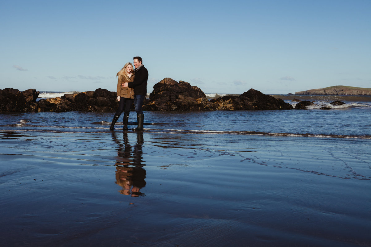 beach engagement photo in sea