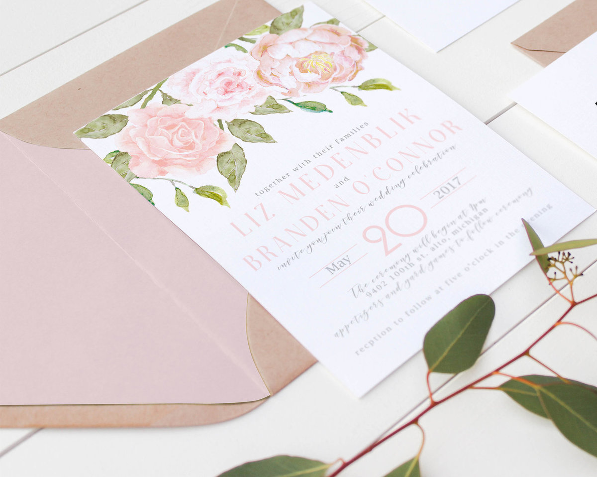 Custom wedding invitations in columbus ohio pink envelope liners stopboris Choice Image