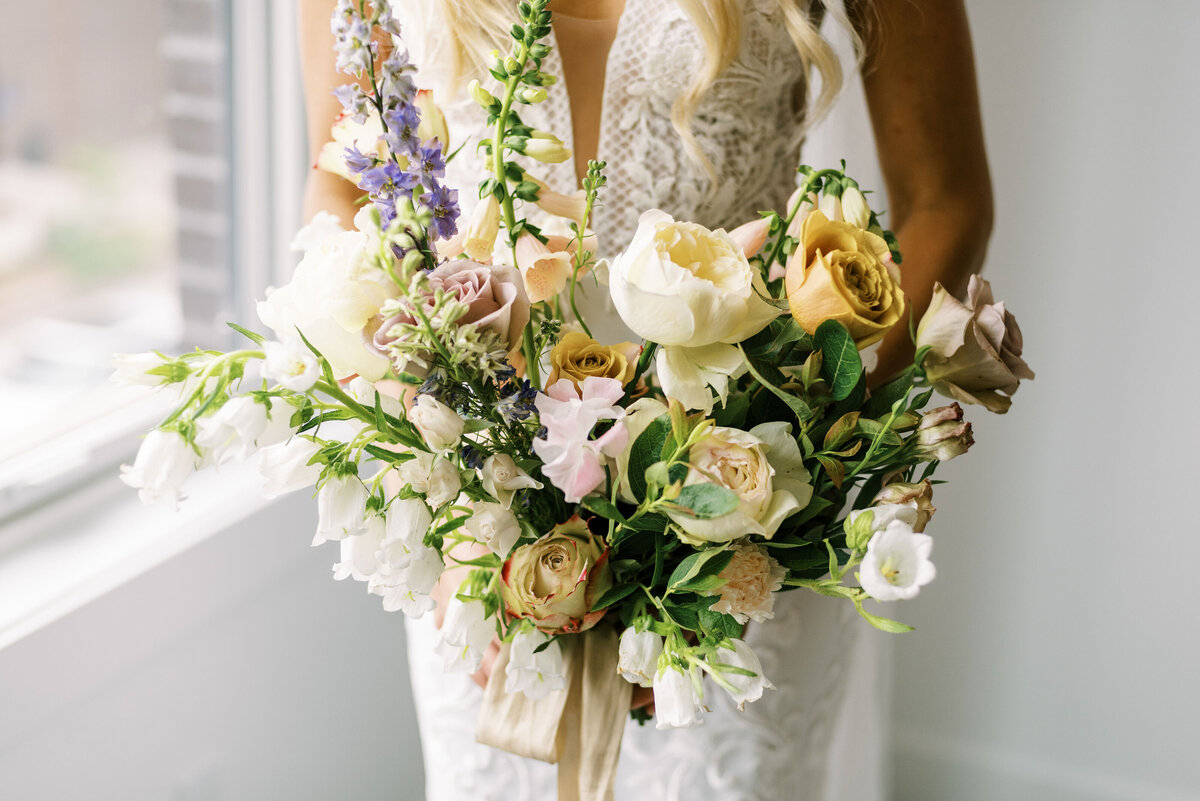 The Day's Design Northern Michigan Florist Blush Lavender and Mustard Bouquet