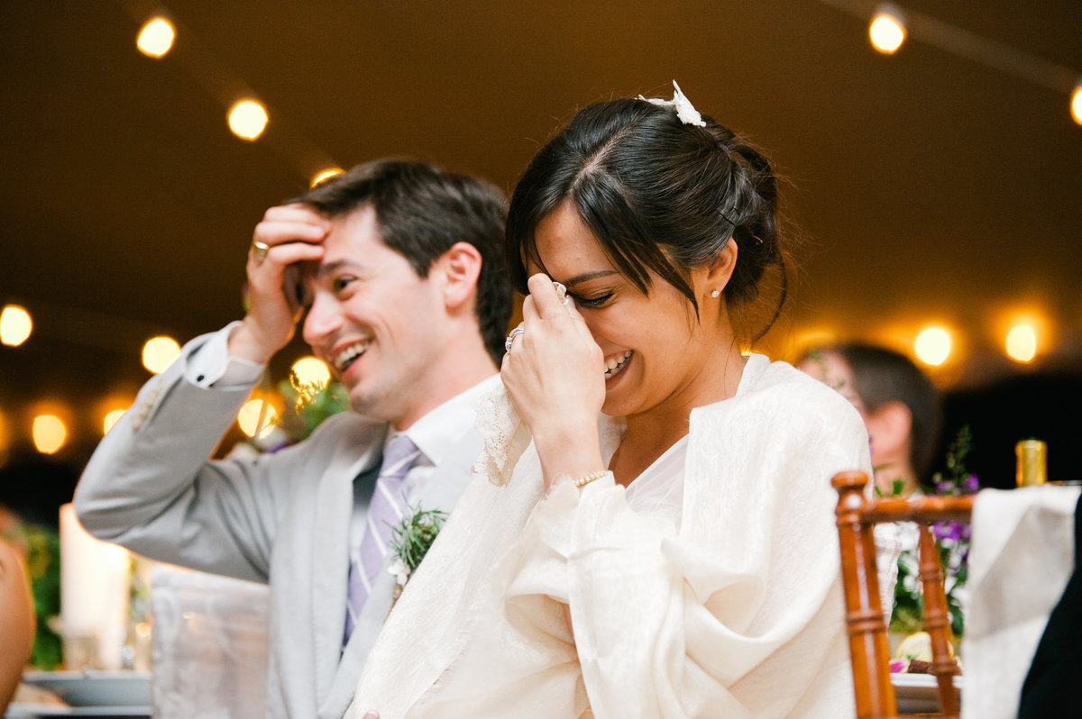 Bride and groom reaction to toast