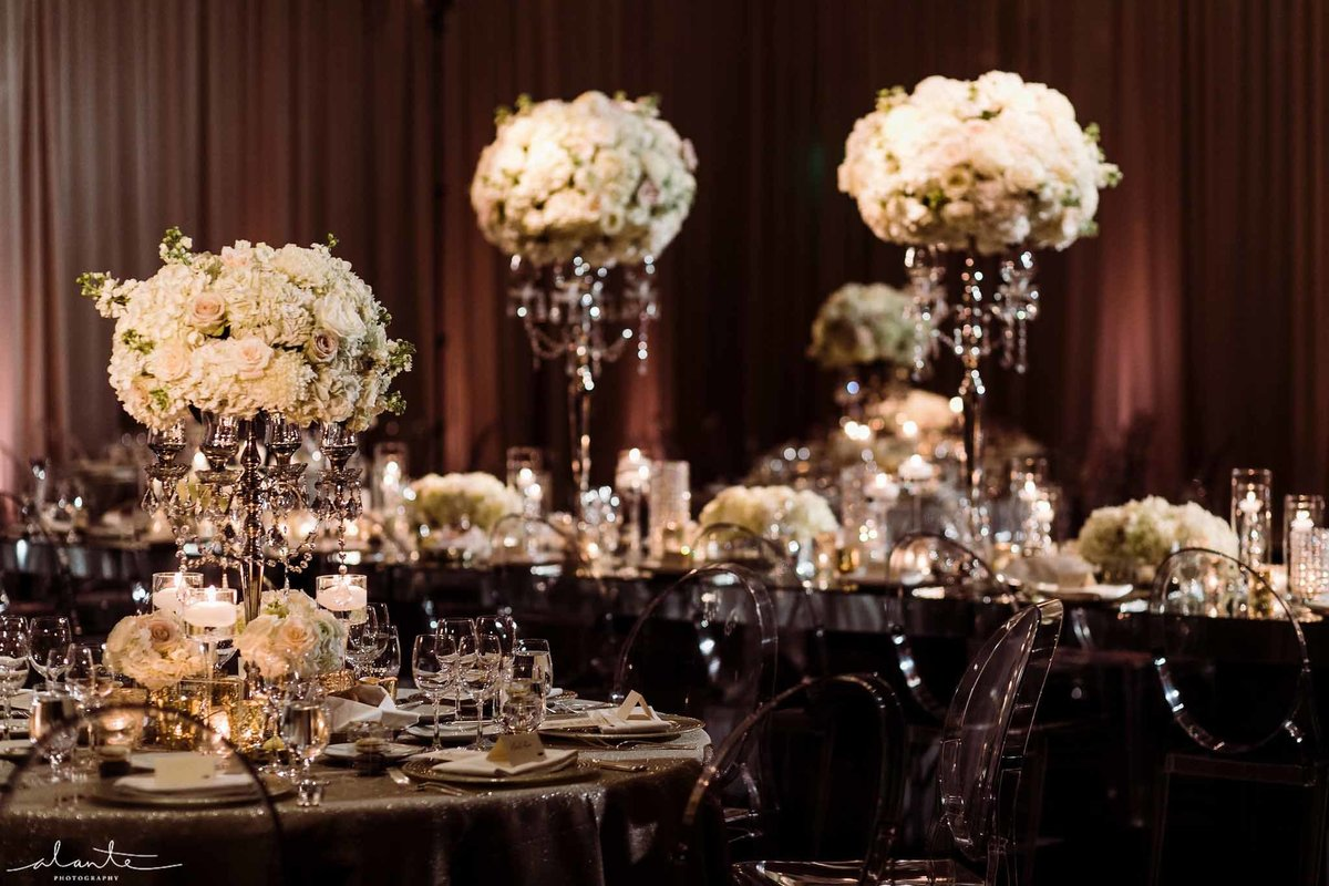Flora Nova Designs winter ballroom wedding.