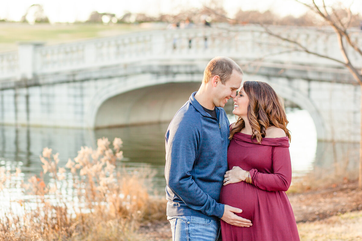 Fall Sunset Maternity Session  by the water at The Grand Basin in Forest Park in St. Louis by Amy Britton Photography Photographer  in St. Louis