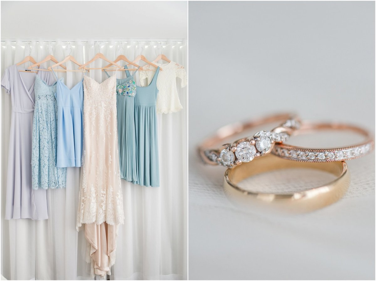 Bride and bridesmaid dresses, mix and match blue bridesmaid dresses