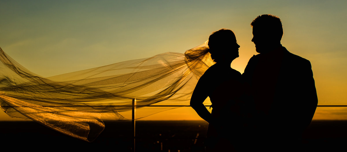 Bride and groom enjoying the sunset in silhouette form in Philadelphia