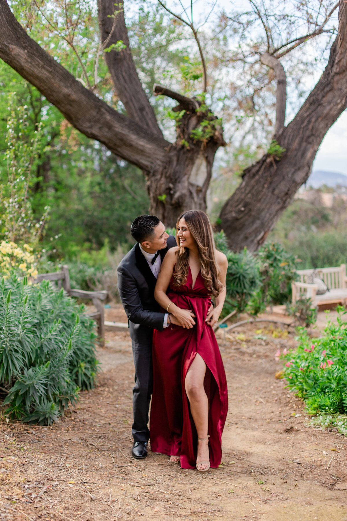UC Riverside Botanical Gardens, Engagement Photography, Riverside Phototgrapher, Garden Engagement, Couple Photography, Red Dress-42