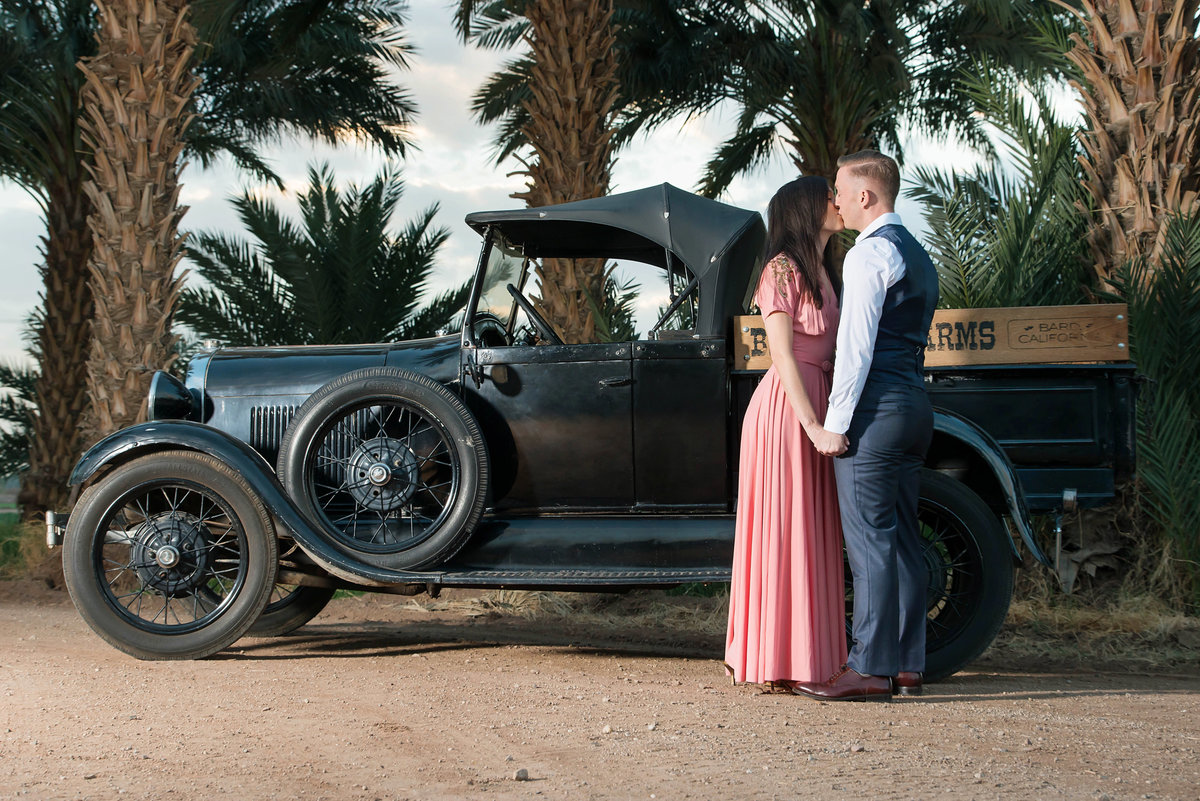 couple with model A car