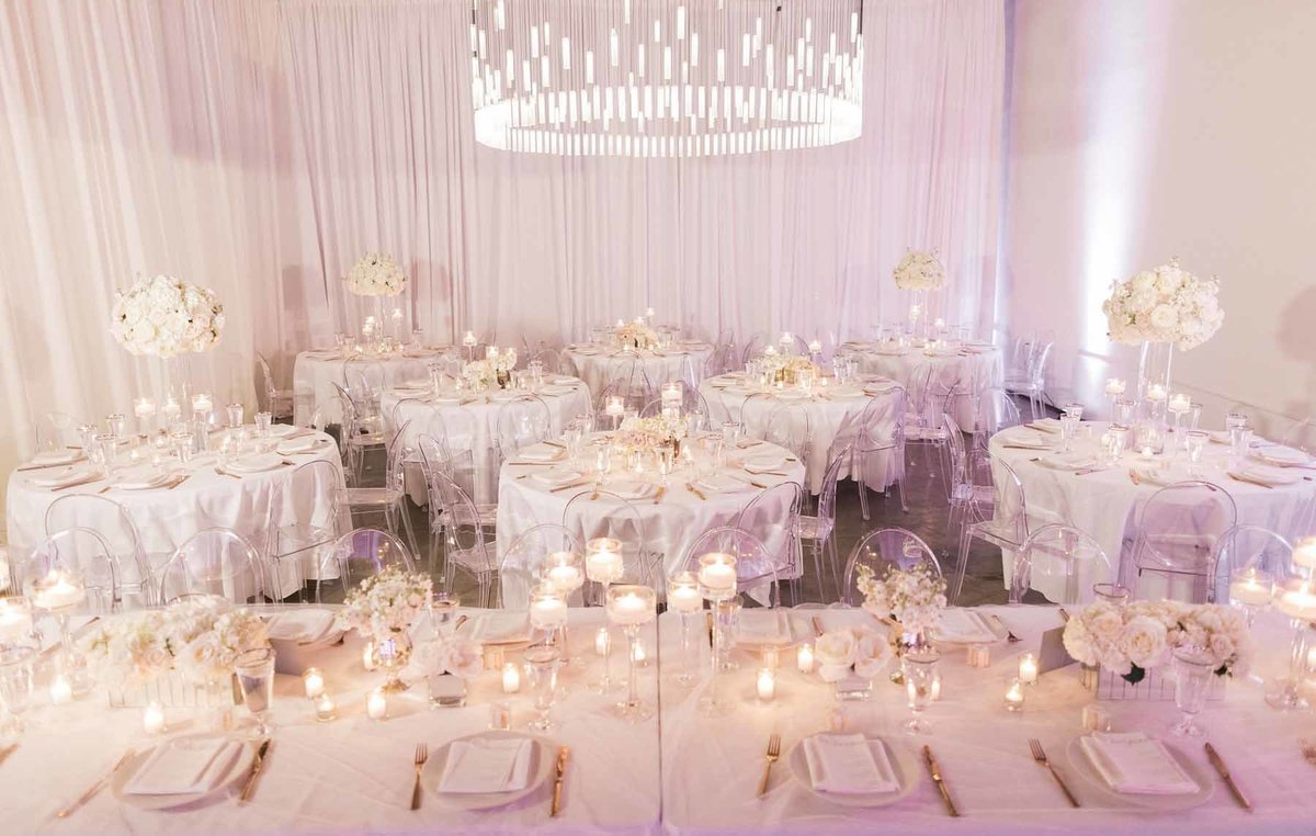 Soft and romantic white wedding reception at Canvas Event Space Seattle
