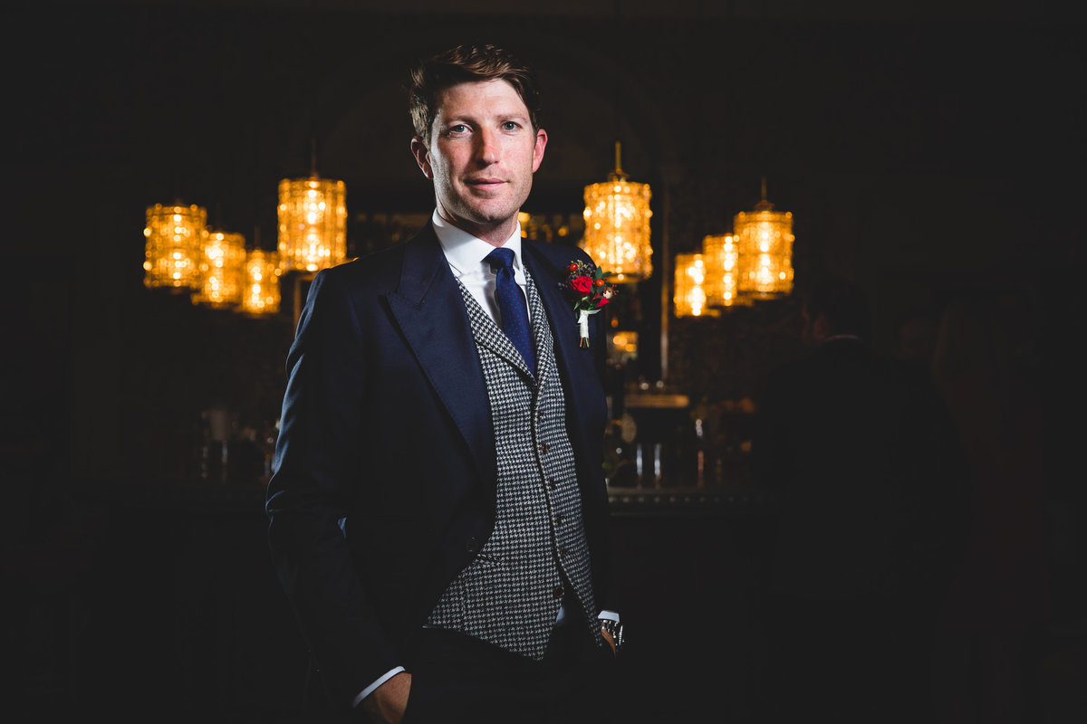 portrait wedding photograph of groom at babington house