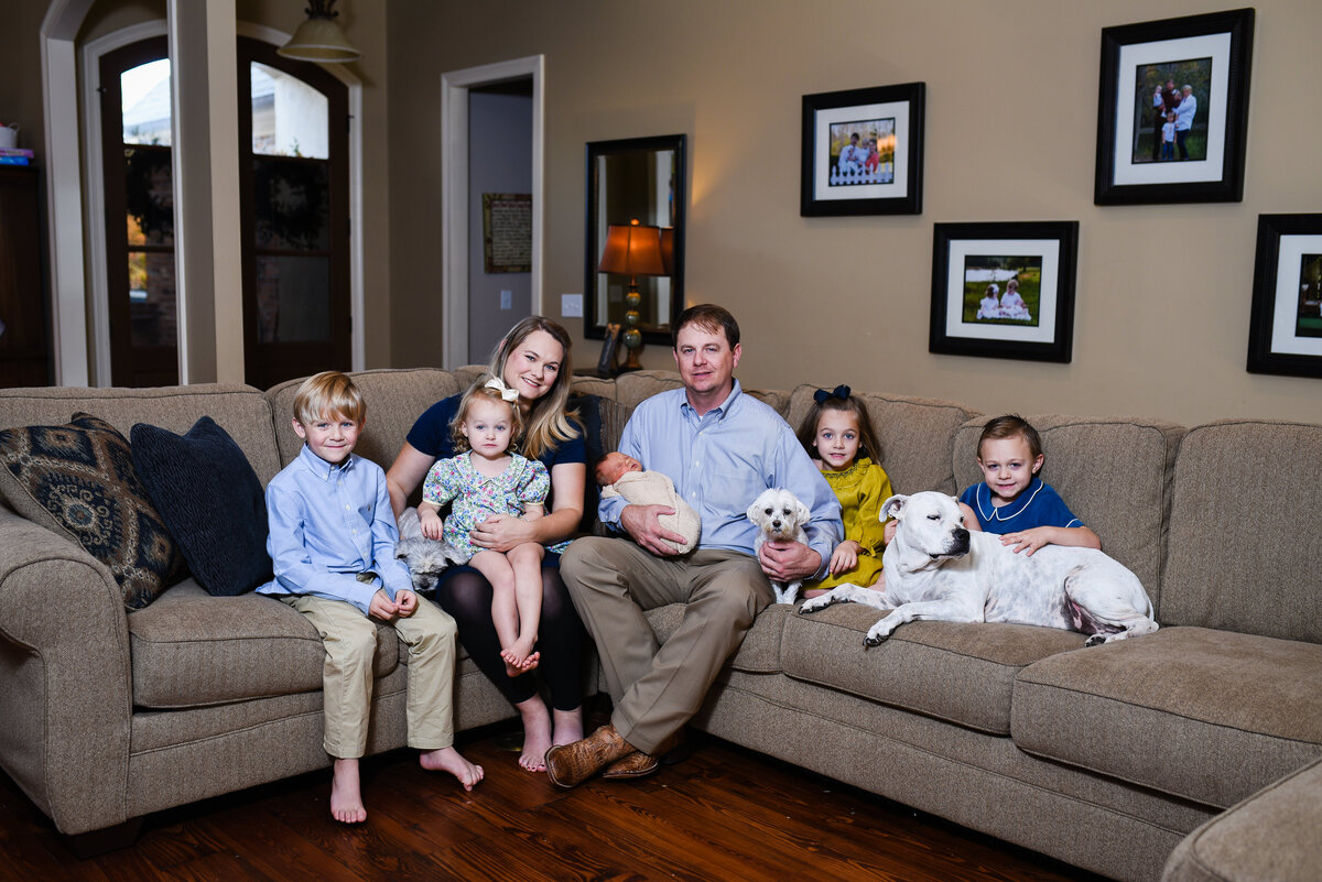 Beautiful lifestyle newborn photography: newborn boy and his family and pets in their living room in Madison, Mississippi