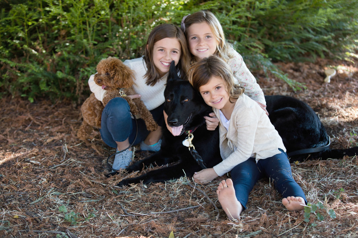 Family of Three Girls and Two Dogs