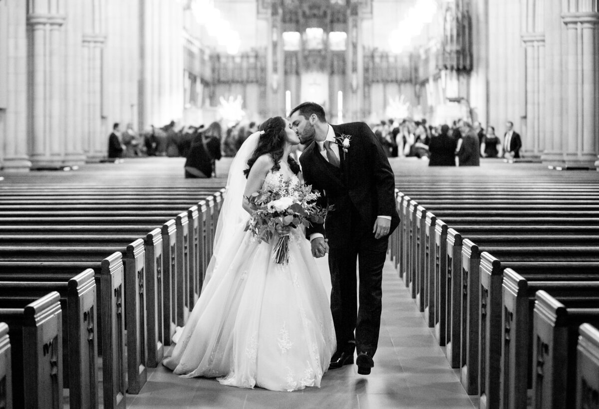Just married newlyweds at Duke University Chapel