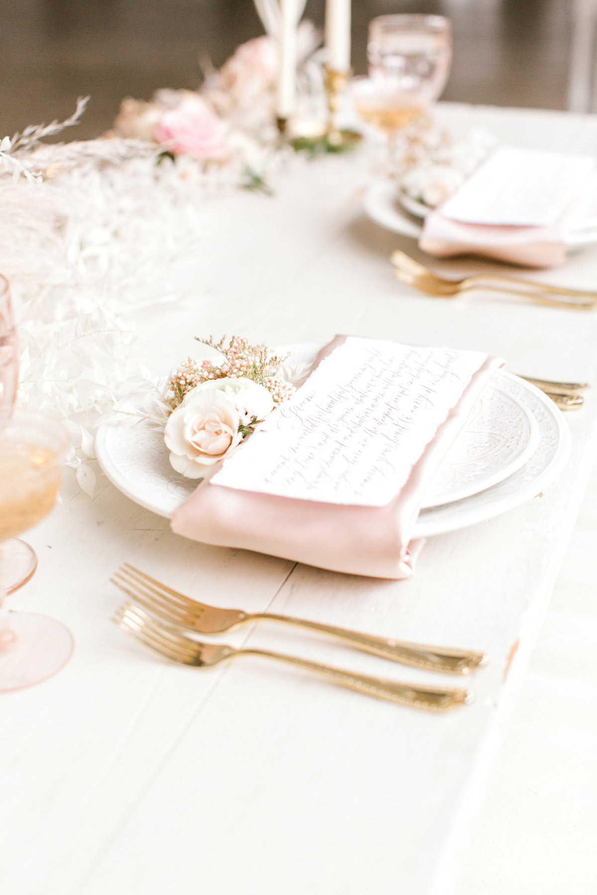 Place settings designed by columbus based wedding planner