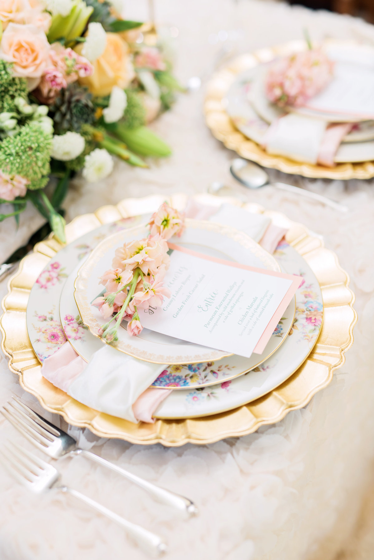 vintage china wedding tablescape