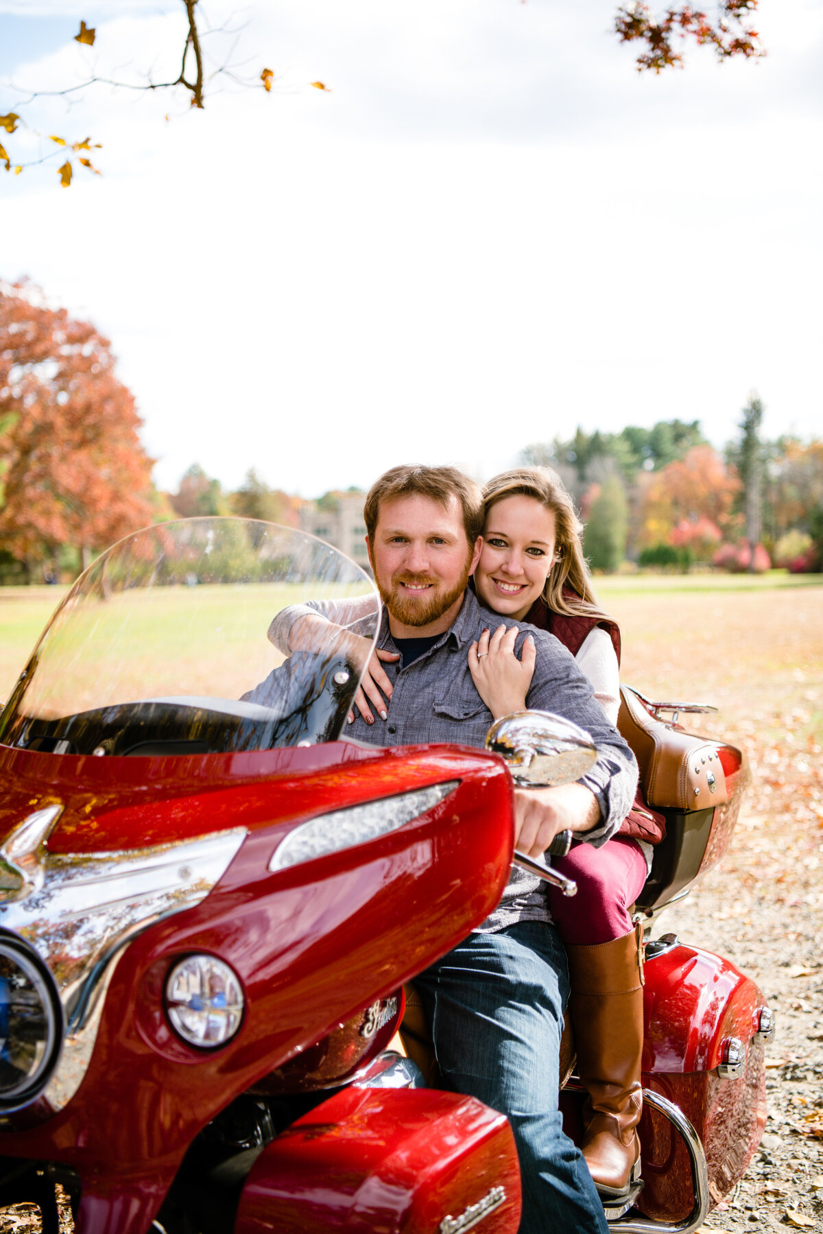 MA motorcycle engagement session