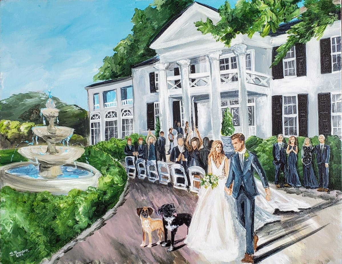 Live wedding painting of a bridge and groom walking up the aisle after their ceremony at Keswick Vineyards in Charlottesville Virginia