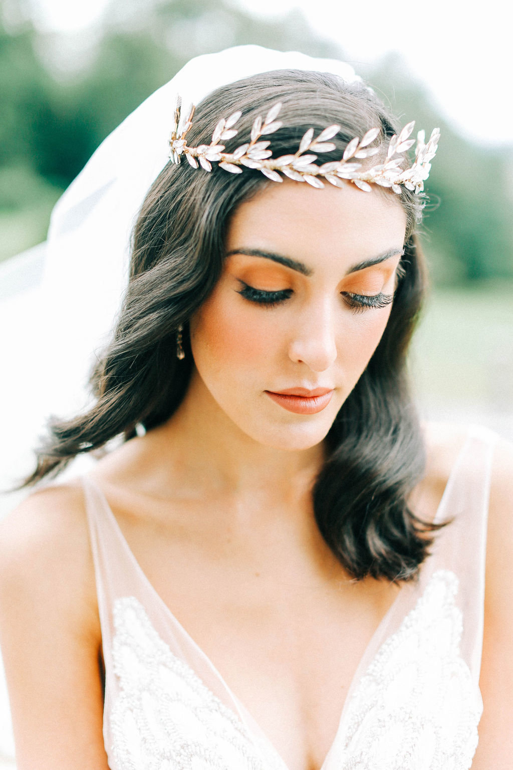 Flawless Bridal Makeup and Bridal Hairpiece
